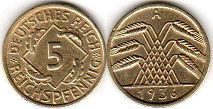 coin German Weimar 5 pfennig 1936