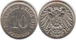 coin German Empire 10 pfennig 1914