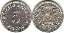 coin German Empire 5 pfennig 1912