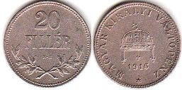 coin Hungary 20 filler 1916