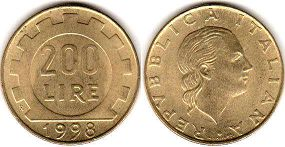 coin Italy 200 lire 1998