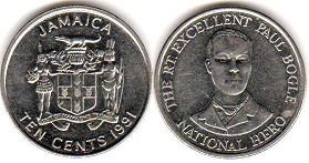 coin Jamaica 10 cents 1991