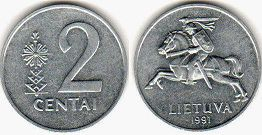 coin Lithuania 2 centai 1991