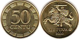 coin Lithuania 50 centu 2000