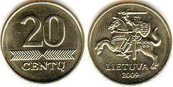 coin Lithuania 20 centu 2009