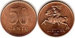 coin Lithuania 50 centu 1991