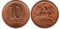 coin Lithuania 10 centu 1991