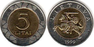 coin Lithuania 5 litai 1999