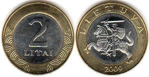 coin Lithuania 2 litai 2009