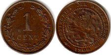 coin Netherlands 1 cent 1900