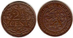 coin Netherlands 2,5 cents 1913