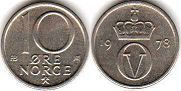 coin Norway 10 ore 1978