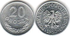 coin Poland 20 groszy 1980