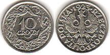 coin Poland 10 groszy 1923