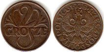 coin Poland 2 grosze 1937
