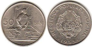 coin Romania 50 bani 1955