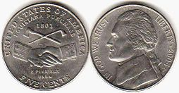 coin US commemorative coin 5 cents 2004 Louisiana Purchase