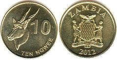 coin Zambia 10 ngwee 2012