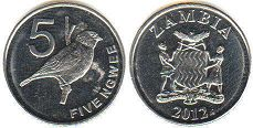 coin Zambia 5 ngwee 2012