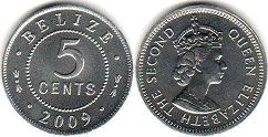 coin Belize 5 cents 2009
