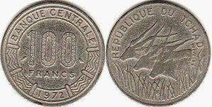 coin Chad 100 francs 1972