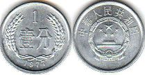 coin chinese 1 fen 1976