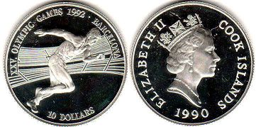 coin Cook Islands 10 dollars 1990