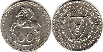 coin Cyprus 100 mils 1974