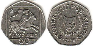 coin Cyprus 50 cents 1996