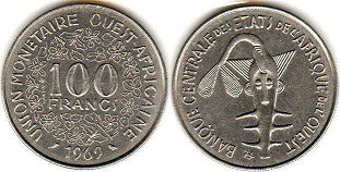 piece West African States 100 francs 1969
