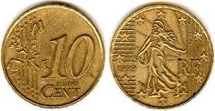 coin France 10 euro cent 1999