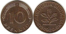 coin Germany 10 pfennig 1989