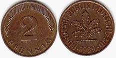 coin Germany 2 pfennig 1989