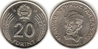 coin Hungary 20 forint 1986