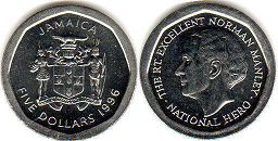 coin Jamaica 5 dollars 1996