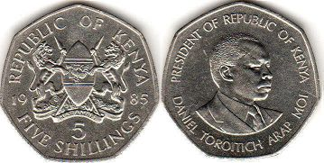 coin Kenya 5 shillings 1985