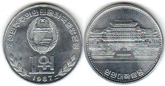 coin North Korea 1 won 1987