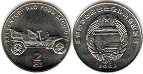 coin North Korea 2 chon 2002