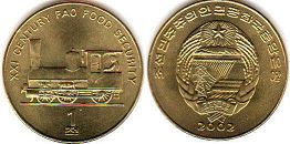 coin North Korea 1 chon 2002