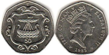 coin Isle of Man 50 pence 1985