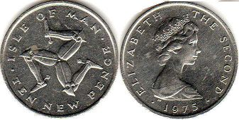 coin Isle of Man 10 new pence 1975