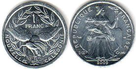 coin New Caledonia 1 franc 2009