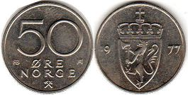 coin Norway 50 ore 1977