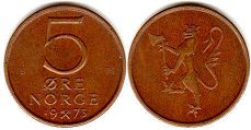 coin Norway 5 ore 1973