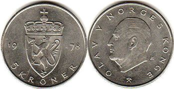 coin Norway 5 kroner 1978