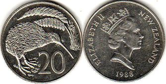 coin New Zealand 20 cents 1988