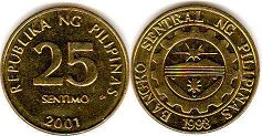 coin Philippines 25 centimos 2001