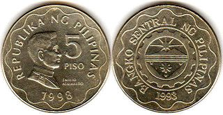 coin Philippines 5 piso 1998