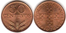 coin Portugal 50 centavos 1978