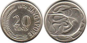 coin singapore20 cents 1976